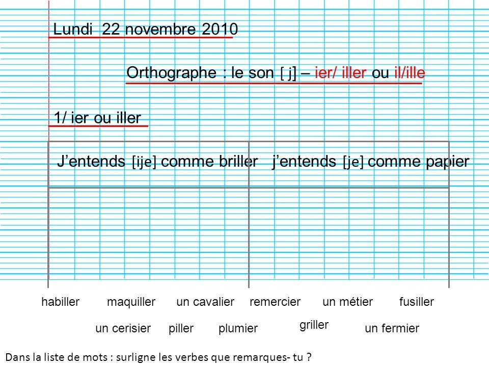 Orthographe : le son [ j] – ier/ iller ou il/ille